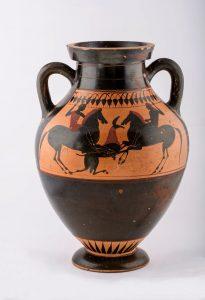 Ánfora de cerámica ática de figuras negras del pintor Psiax (530-500 a.C.) de la Fundación Rodríguez-Acosta (imagen: Pepe Marín, Fundación Rodríguez-Acosta)